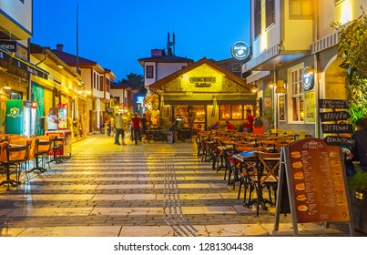ANTALYA, TURKEY - MAY 9, 2017: Kaleici district is historic center of resort, here locate popular tourist restaurants, small family cafes, bars and pubs for the holidaymakers, on May 9 in Antalya.