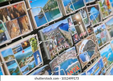 ANTALYA, TURKEY - OCTOBER 01, 2017: Postcards shows Alanya Town in Antalya City