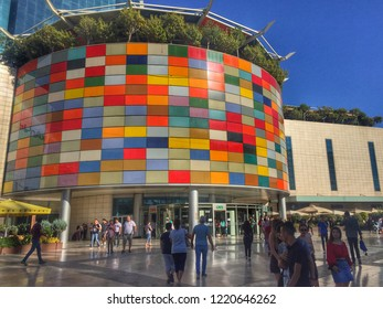 Antalya, Turkey - October 14, 2018: Modern shopping mall MarkAntalya. A lot of people on the square near shop