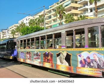 Antalya, Turkey  - October 17, 2012 -  Multicolored tram on the waterfront in the western Konyaalti area in the city