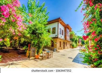 Antalya, Turkey - September 01, 2012 : Houses in the Historical Distirict of Antalya (Kaleici), Turkey. Old town of Antalya is a popular destination among tourists.