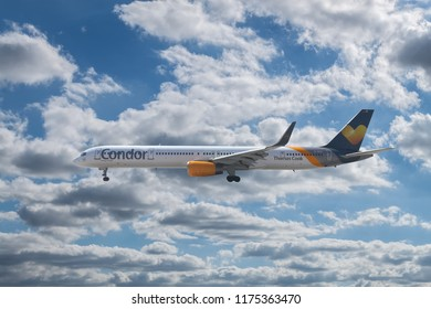 ANTALYA, TURKEY - SEPTEMBER 03 2018: Condor Airlines Boeing 757-300 approaching to the airport on September 03,2018 in Antalya,Turkey.Condor, is a German leisure airline based in Frankfurt.