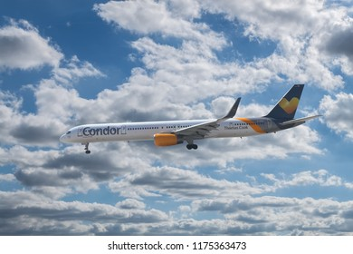ANTALYA, TURKEY - SEPTEMBER 03 2018: Condor Airlines Boeing 757-300 landing to the airport on September 03,2018 in Antalya,Turkey.Condor, is a German leisure airline based in Frankfurt.