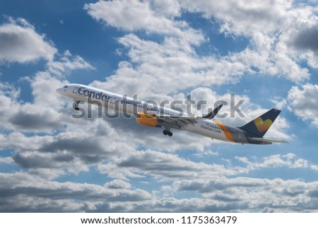 ANTALYA, TURKEY - SEPTEMBER 03 2018: Condor Airlines Boeing 757-300 taking off from the airport on September 03,2018 in Antalya,Turkey.Condor, is a German leisure airline based in Frankfurt.