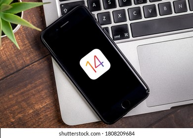Antalya, TURKEY - September 03, 2020.  IPHONE with the logo of the new iOS 14, Apple's next operating system for its smarphones to be released.