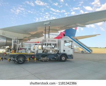 ANTALYA, TURKEY - SEPTEMBER 17 2018: Lukoil refueling of the aircraft at the airport. Lukoil Oil Company is a Russian multinational energy corporation headquartered in Moscow