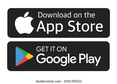 Antalya, Turkey - September 21, 2020: Download on the App Store and Get it on Google Play button icons, printed on paper