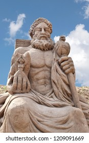 ANTALYA, TURKEY - SEPTEMBER 28, 2017 : Lara Beach, Sandland Sand Sculpture Festival. View of big sand sculpture of mythological characters - Zeus statue