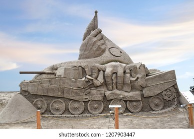 ANTALYA, TURKEY - SEPTEMBER 30, 2017 : Lara Beach, Sandland Sand Sculpture Festival. View of big sand sculpture. This composition dedicated to the events of July 15, 2016 - attempted coup in Turkey