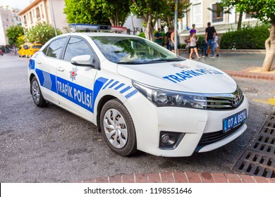 ANTALYA / TURKEY - SEPTEMBER 30, 2018: Subaru Police car from the turkish police Trafik Polisi stands on a street near a control point
