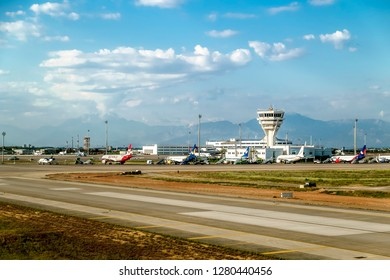 Antalya. Turkey.3 June 2018.the view from the runway of the airport of Antalya in Turkey.