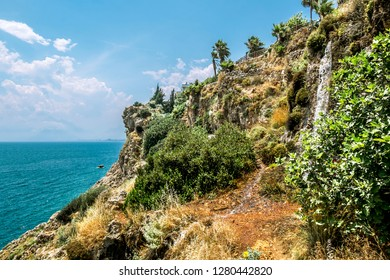 Antalya. Turkey.5 June 2018.View of the coast and the slope with a waterfall in Antalya .