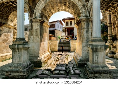 Antalya. Turkey.5 June 2018.View of Hadrian's gate in the old town of Kaleici in Antalya .