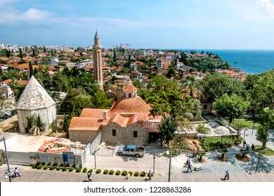 Antalya. Turkey.5 June 2018.View of the mosque in the old town of Kaleici in Antalya .