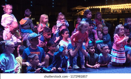 Antalya, Turkey-May,15,2018. Show time in the Turkish resort. Entertainment for children. Many children and parents watch the performance on stage. Children's holiday. Concept of entertainment.