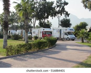 ANTALYA,TURKEY, 18 NOVEMBER 2014: trailers staying near the beach