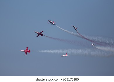 ANTALYA,TURKEY - APRIL 23 2017: The Turkish Stars (Turk Yildizlari) aerobatic team performs a show over Konyaalti beach.