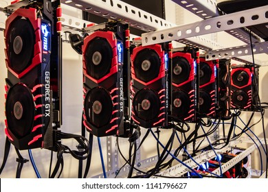 Antalya,Turkey -May 15, 2018 :Array of MSI GeForce GTX 1080 Ti Gaming GPUs for Cryptocurrency mining rig to mine for digital cryptocurrency such as bitcoin, ethereum and other altcoins.