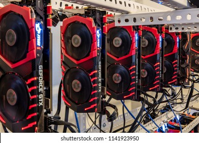 Antalya,Turkey - May15, 2018: Array of MSI GeForce GTX 1080 Ti Gaming GPUs for Cryptocurrency mining rig to mine for digital cryptocurrency such as bitcoin, ethereum and other altcoins.