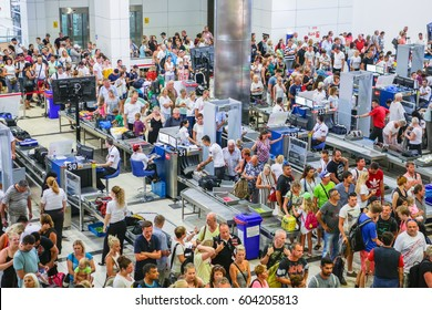 ANTALYA/TURKEY - September 10, 2016: Security and passport control at Antalya International Airport, Turkey.