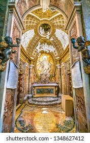 Antamoro Chapel or Chapel of Saint Philip Neri Church of San Girolamo della Carità in Rome, Italy. March-24-2019