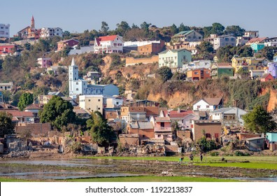 Antananarivo city view, capital of Madagascar. Tanarivo is a city of 3 million Madagascarians, who often farm rice and other crops. Villagers living nearby Antananarivo.