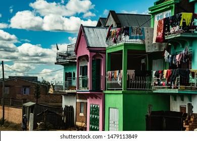 Antananarivo houses. Colourful housing pallet