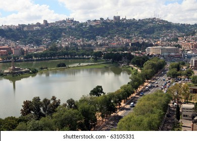 Antananarivo - lakeside: Part of the business section of Antananarivo, Madagascar.