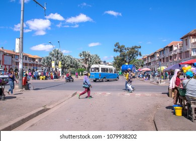 Antananarivo, Madagascar - 15 April, 2018: Independence Avenue or Avenue de l'Indépendance, is an approximately 1 km double lane in the centre of Antananarivo