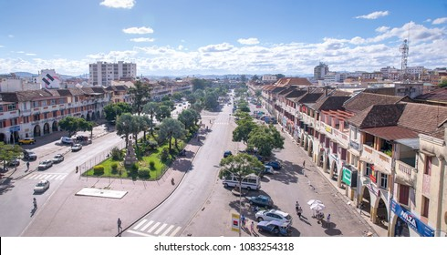 Antananarivo, Madagascar - 15 April, 2018: Panoramic view of Independence Avenue or Avenue de l'Indépendance, which is an approximately 1 km double lane in the centre of Antananarivo.