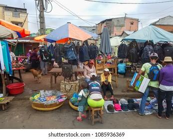 Antananarivo, Madagascar - 16 April, 2018: Sidewalk stalls / street stalls selling at Antananarivo of Madagascar