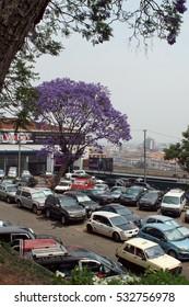 ANTANANARIVO, MADAGASCAR - CIRCA OCTOBER 2016: Parking area below Jardin Antaninarenina