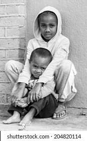 ANTANANARIVO, MADAGASCAR - JULY 1, 2011: Unidentified Madagascar children in the street. People in Madagascar suffer of poverty due to slow development of the country