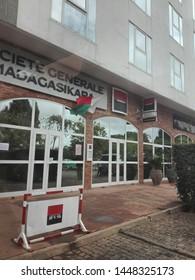 """Antananarivo, Madagascar - June 22 2019:  Front entrance of """"Société général Madagascar"""" office branch"""