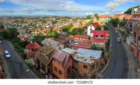 ANTANANARIVO, MADAGASCAR - MARCH 28, 2017. View from Lalane Pierre Rapiera road an a sunny late afternoon, with exceptionally few cars.
