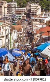 Antananarivo, Madagascar, May 16, 2017: People climbing the steps of Antananarivo, Madagascar