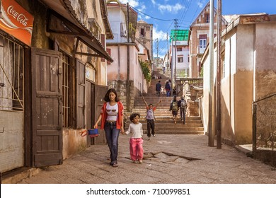 Antananarivo, Madagascar, May 16, 2017: People walking on the steps of Antananarivo, Madagascar