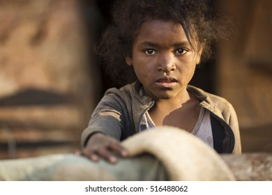 ANTANANARIVO, MADAGASCAR - SEPTEMBER 26, 2016: Unidentified Madagascar child. People in Madagascar suffer of poverty due to slow development of the country
