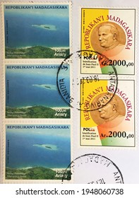 Antananarivo, March 18, 2021: letter franked with stamps of Madagascar issued in 2015 (Beatification of John Paul II and marine protected area of Nosy Antafana)