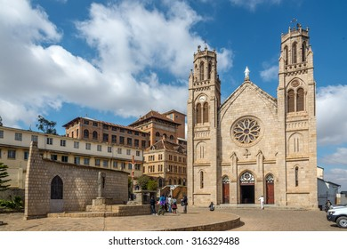 ANTANANARIVO,MADAGASCAR - AUGUST 08,2015 - Andohalo cathedral, built on a cliff where Queen Ranavalona had early Malagasy Christian martyrs executed.