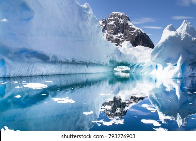 Antarctic Landscape with icebergs in foreground. Antarctic Peninsula, Antarctica
