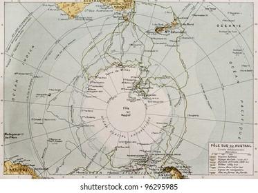 Antarctic old map. By Paul Vidal de Lablache, Atlas Classique, Librerie Colin, Paris, 1894