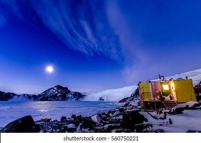 Antarctic Research Hut in Deep Winter Moonlight