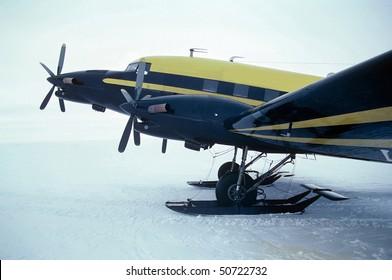 Antarctic ski  equipped airplane