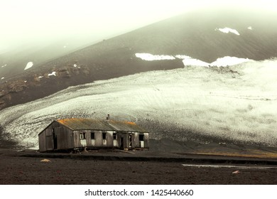 Antarctica Antarctic Peninsula Abandoned House Base Home Outpost Lonely Quiet Broken Down Hovel Hut Shack Cabin Depressing Depressive Sad Deception Island Mountains Mountain Winter Snow Snowy Ice Icy