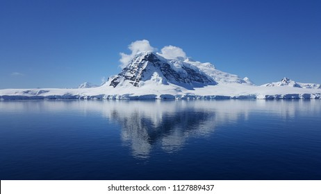 Antarctica glacier on a bright sunny day