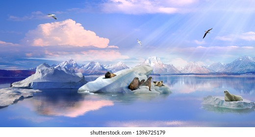 Antarctica. Icebergs in the ocean and walruses