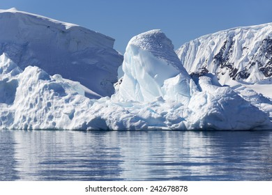 Antarctica. Ices and icebergs of various forms.