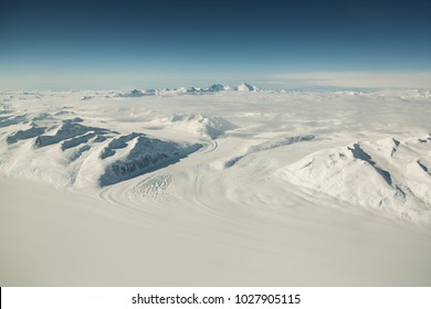Antarctica landscape from above.