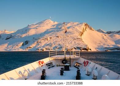 Antarctica mountain from cruise ship, expedition to Antarctica